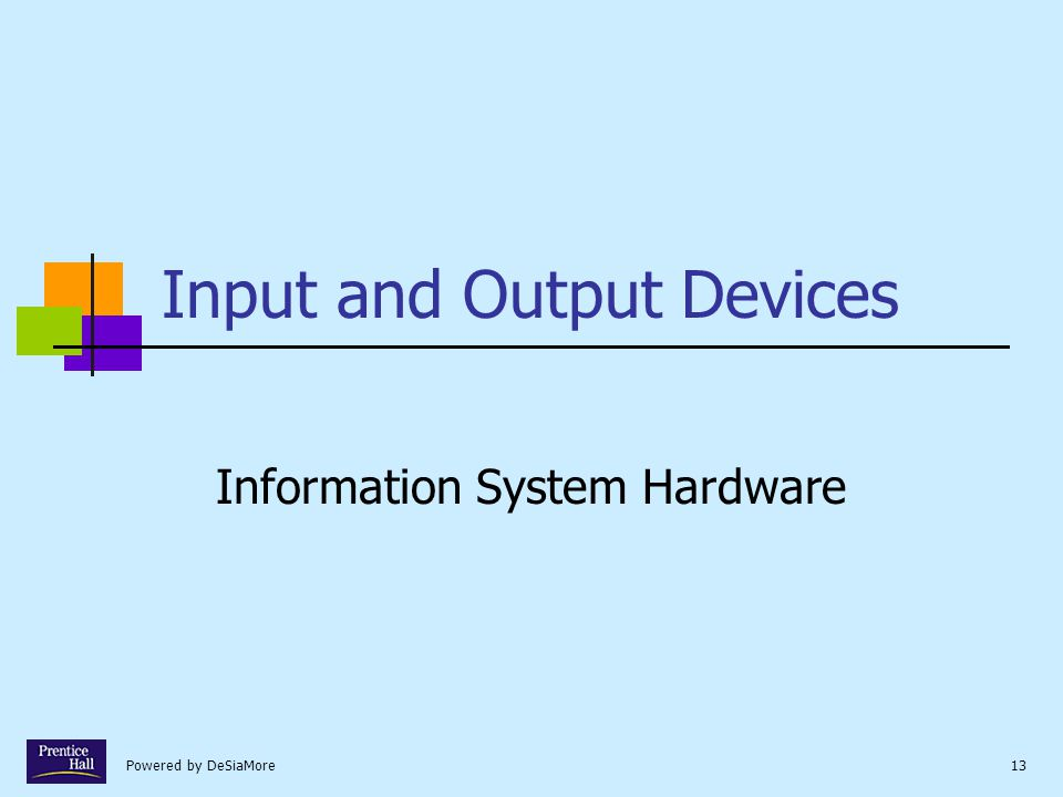 Powered by DeSiaMore13 Input and Output Devices Information System Hardware
