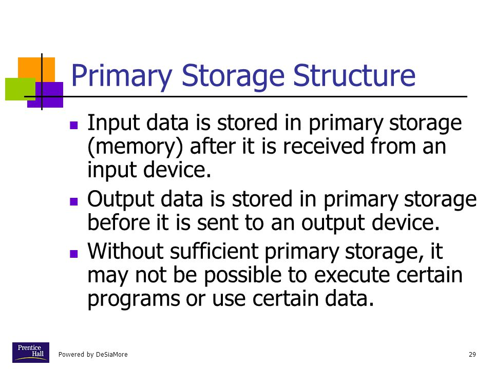 Powered by DeSiaMore29 Primary Storage Structure Input data is stored in primary storage (memory) after it is received from an input device.