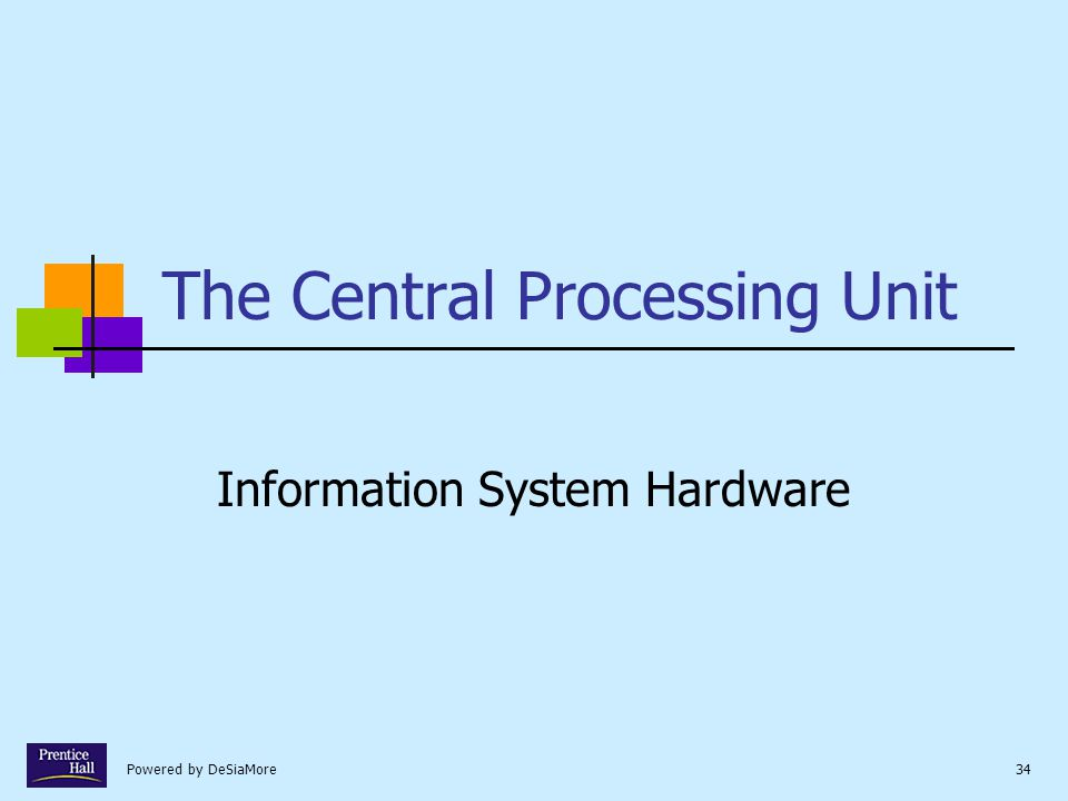 Powered by DeSiaMore34 The Central Processing Unit Information System Hardware