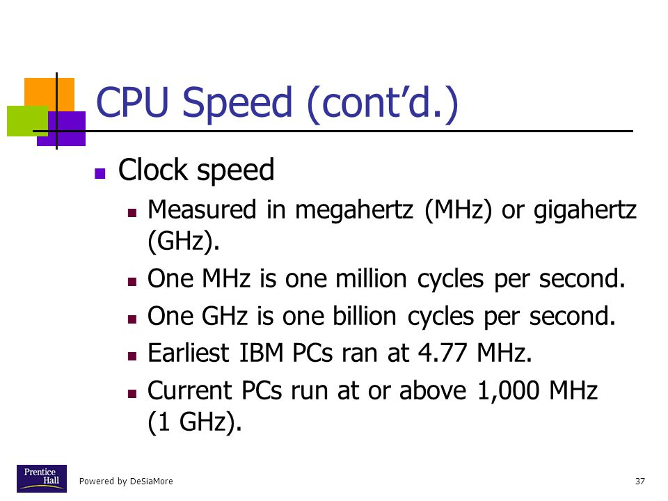 Powered by DeSiaMore37 CPU Speed (contd.) Clock speed Measured in megahertz (MHz) or gigahertz (GHz).