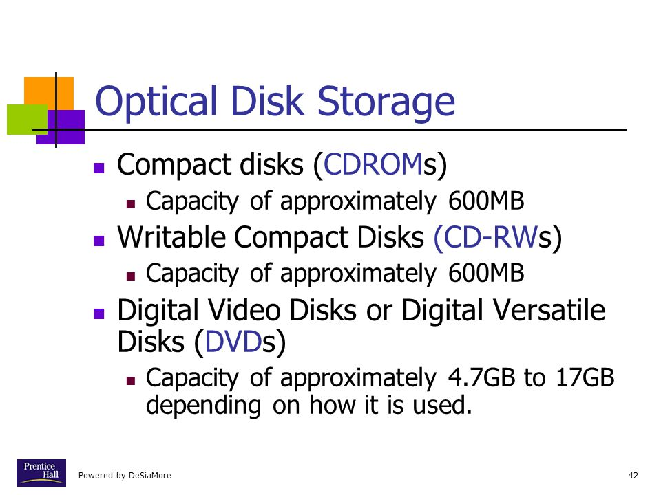Powered by DeSiaMore42 Optical Disk Storage Compact disks (CDROMs) Capacity of approximately 600MB Writable Compact Disks (CD-RWs) Capacity of approximately 600MB Digital Video Disks or Digital Versatile Disks (DVDs) Capacity of approximately 4.7GB to 17GB depending on how it is used.