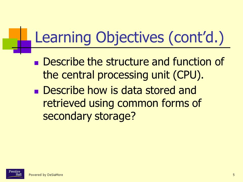 Powered by DeSiaMore5 Learning Objectives (contd.) Describe the structure and function of the central processing unit (CPU).