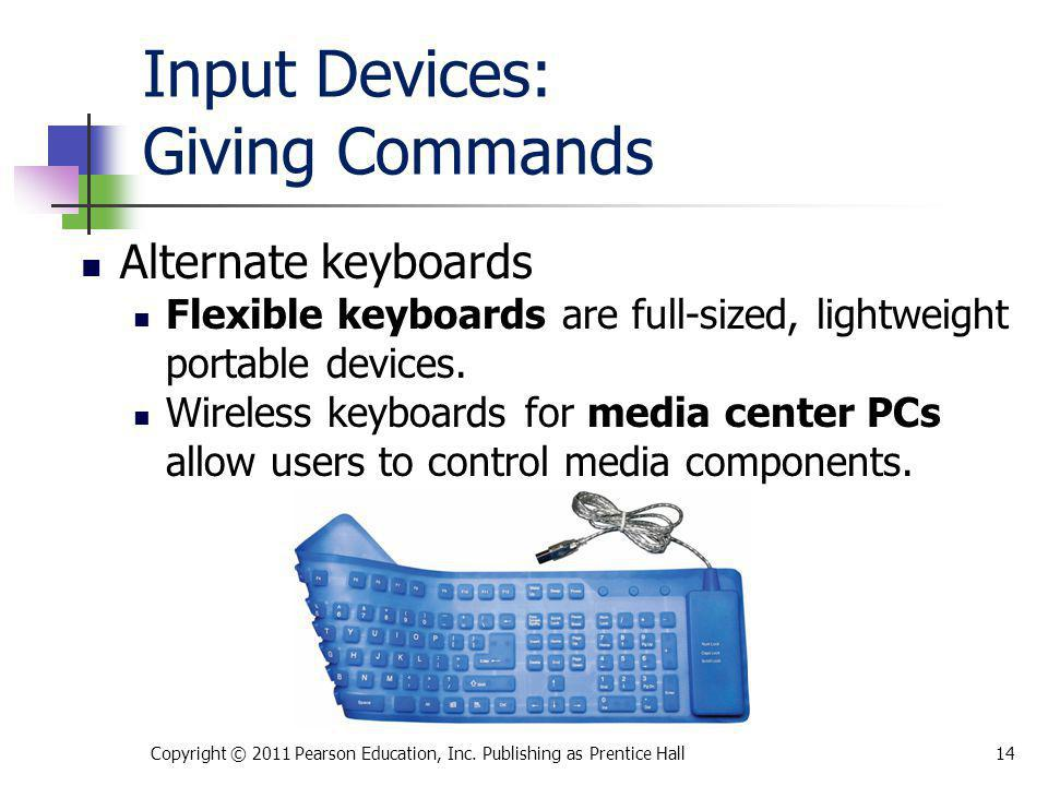 Input Devices: Giving Commands Alternate keyboards Flexible keyboards are full-sized, lightweight portable devices. Wireless keyboards for media cente