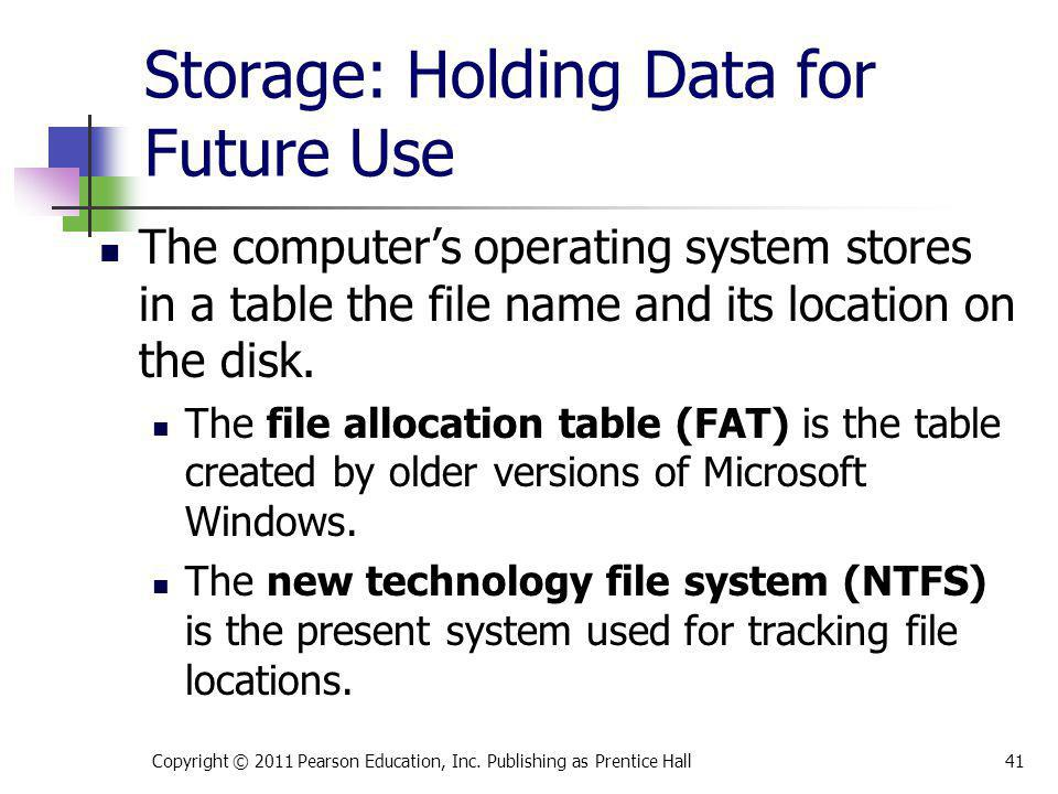 Storage: Holding Data for Future Use The computers operating system stores in a table the file name and its location on the disk. The file allocation