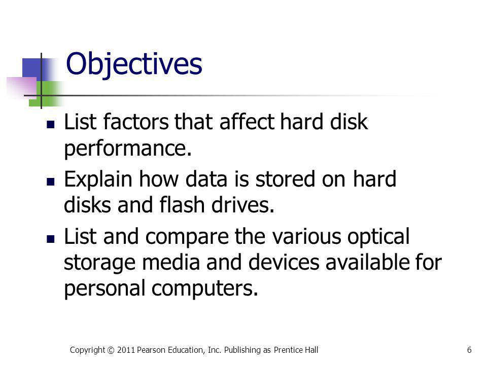 List factors that affect hard disk performance. Explain how data is stored on hard disks and flash drives. List and compare the various optical storag