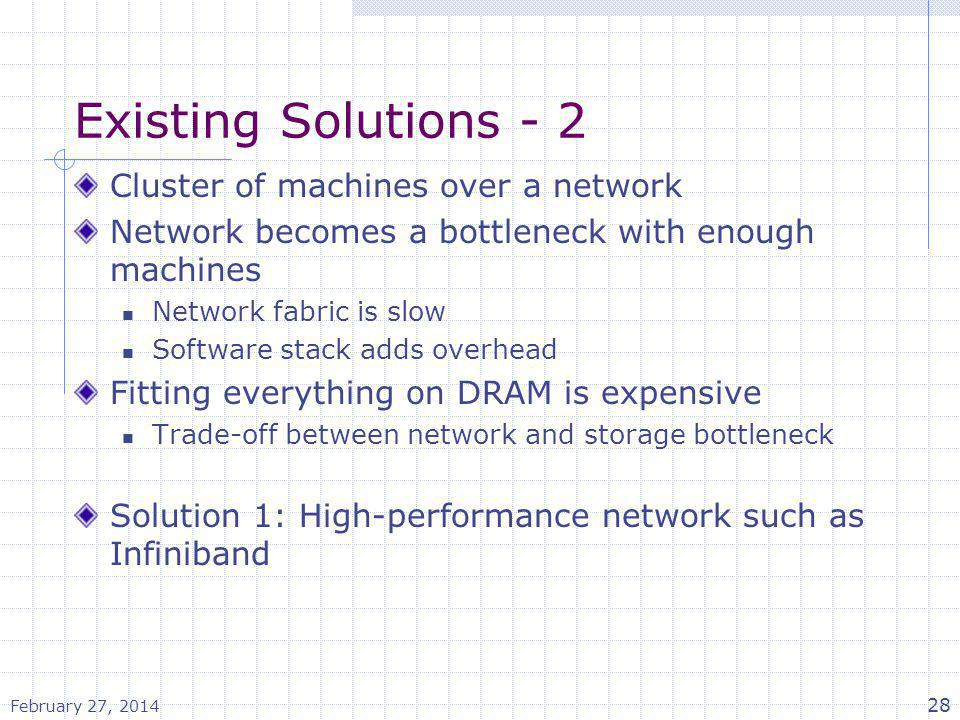 Existing Solutions - 2 Cluster of machines over a network Network becomes a bottleneck with enough machines Network fabric is slow Software stack adds