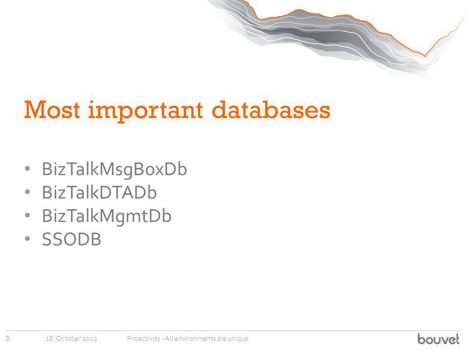 Most important databases BizTalkMsgBoxDb BizTalkDTADb BizTalkMgmtDb SSODB 18.