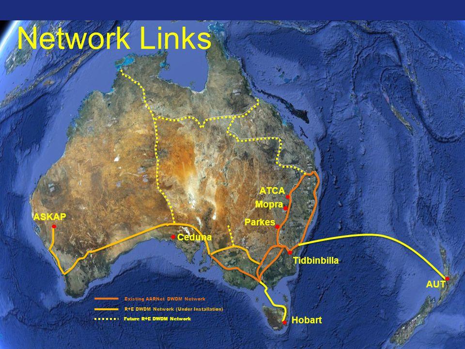 Existing AARNet DWDM Network R+E DWDM Network (Under Installation) Future R+E DWDM Network 3 ASKAP Ceduna ATCA Parkes Mopra AUT Hobart Tidbinbilla Network Links
