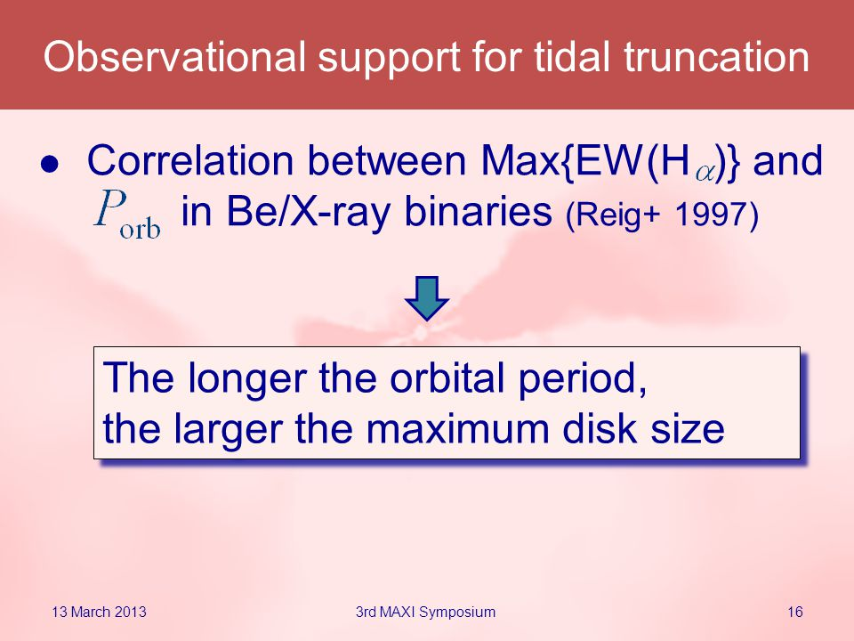 The longer the orbital period, the larger the maximum disk size The longer the orbital period, the larger the maximum disk size Correlation between Max{EW(H )} and in Be/X-ray binaries (Reig+ 1997) Observational support for tidal truncation 13 March 2013163rd MAXI Symposium