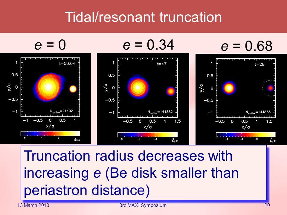 20 e = 0e = 0.34 e = 0.68 Tidal/resonant truncation Truncation radius decreases with increasing e (Be disk smaller than periastron distance) 13 March