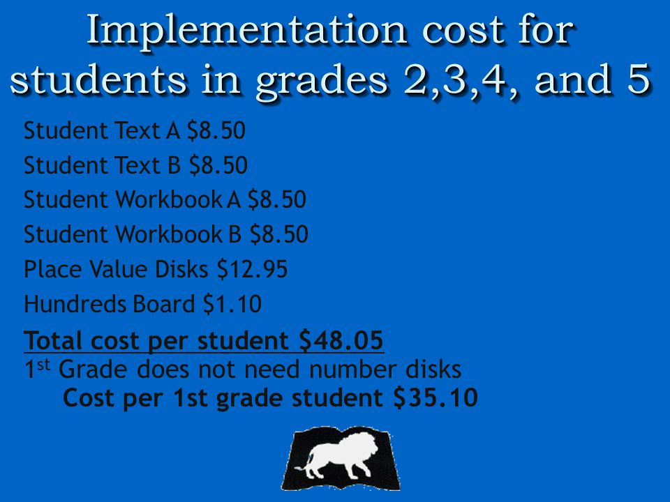 Implementation cost for students in grades 2,3,4, and 5 Student Text A $8.50 Student Text B $8.50 Student Workbook A $8.50 Student Workbook B $8.50 Place Value Disks $12.95 Hundreds Board $1.10 Total cost per student $48.05 1 st Grade does not need number disks Cost per 1st grade student $35.10