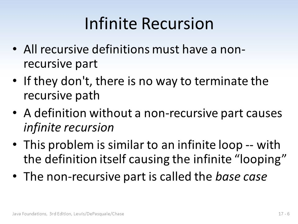 Infinite Recursion All recursive definitions must have a non- recursive part If they don't, there is no way to terminate the recursive path A definiti