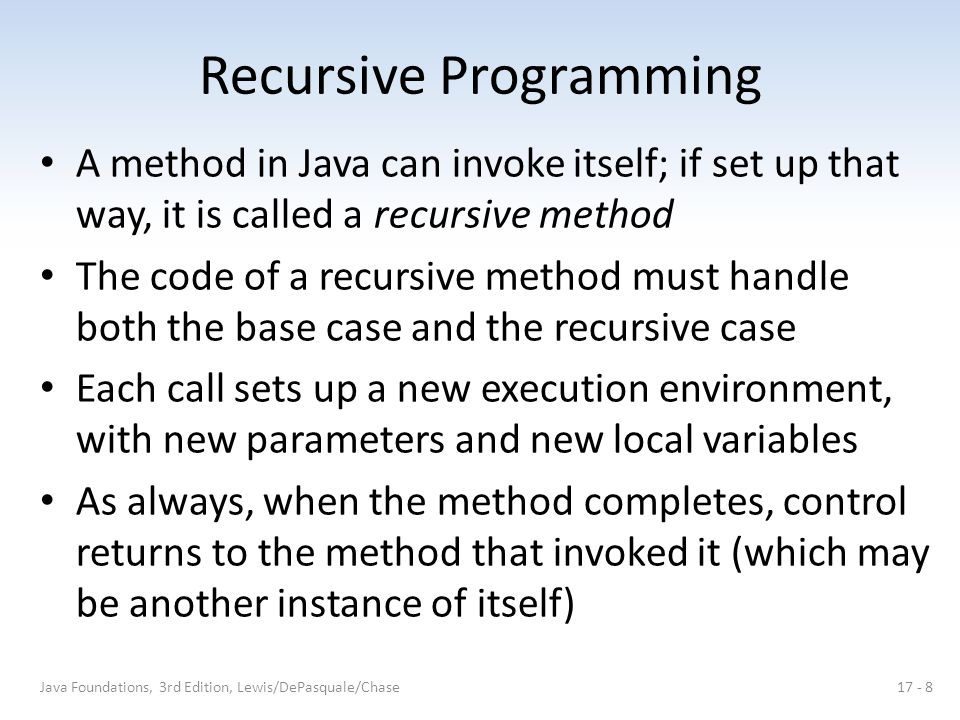 Recursive Programming A method in Java can invoke itself; if set up that way, it is called a recursive method The code of a recursive method must hand