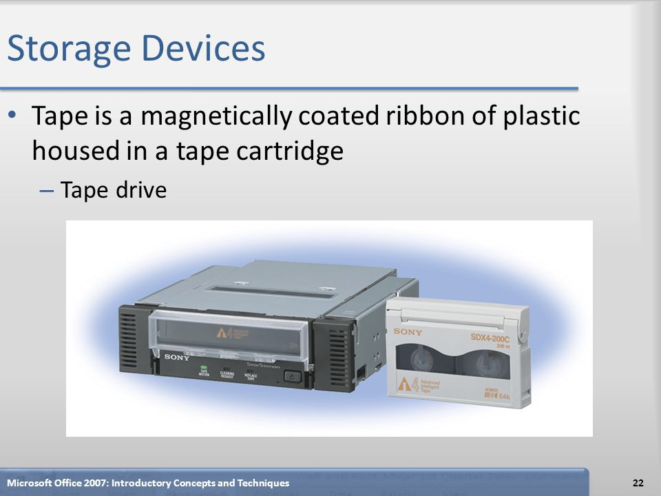 Storage Devices Tape is a magnetically coated ribbon of plastic housed in a tape cartridge – Tape drive Microsoft Office 2007: Introductory Concepts a