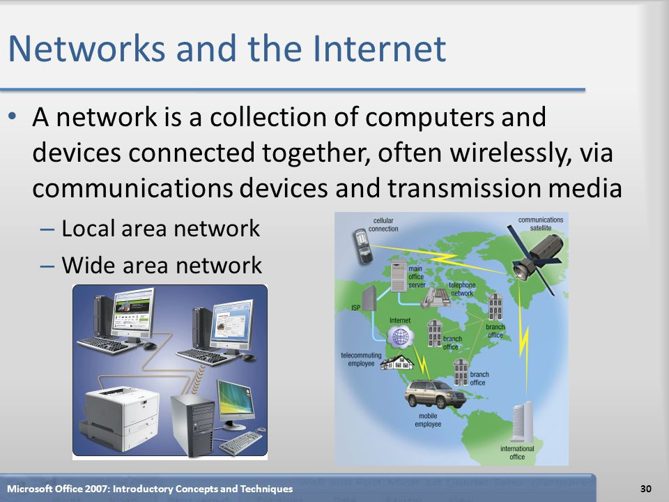 Networks and the Internet A network is a collection of computers and devices connected together, often wirelessly, via communications devices and tran