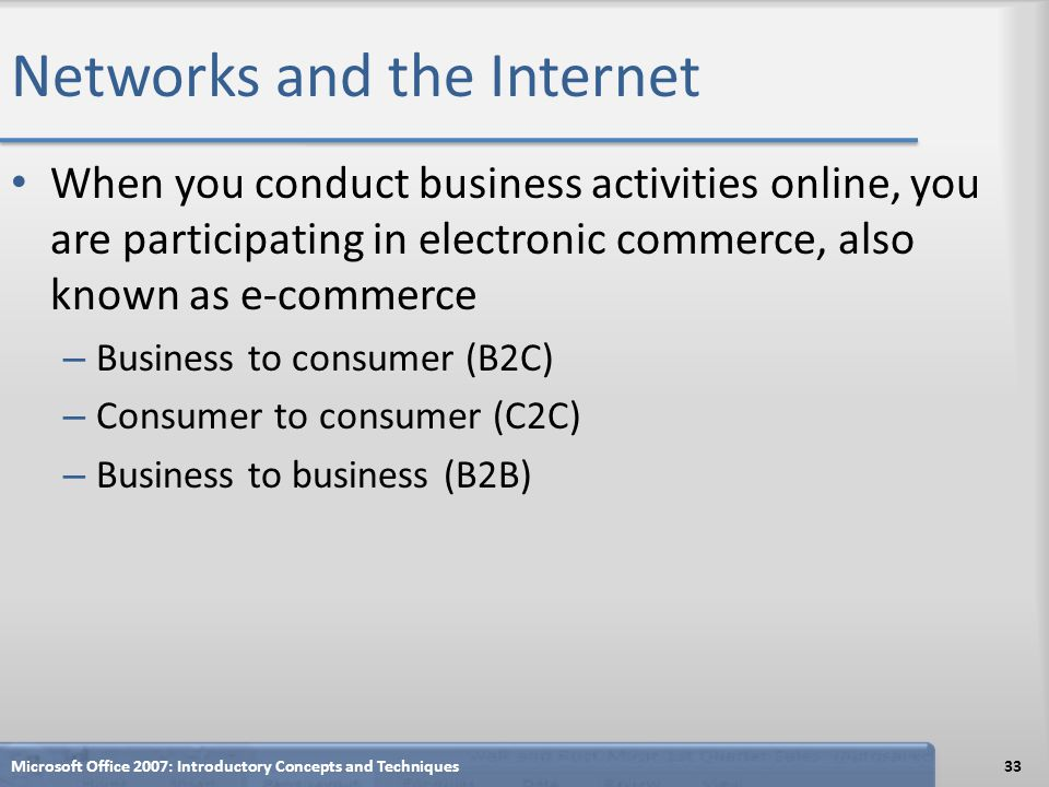 Networks and the Internet When you conduct business activities online, you are participating in electronic commerce, also known as e-commerce – Busine