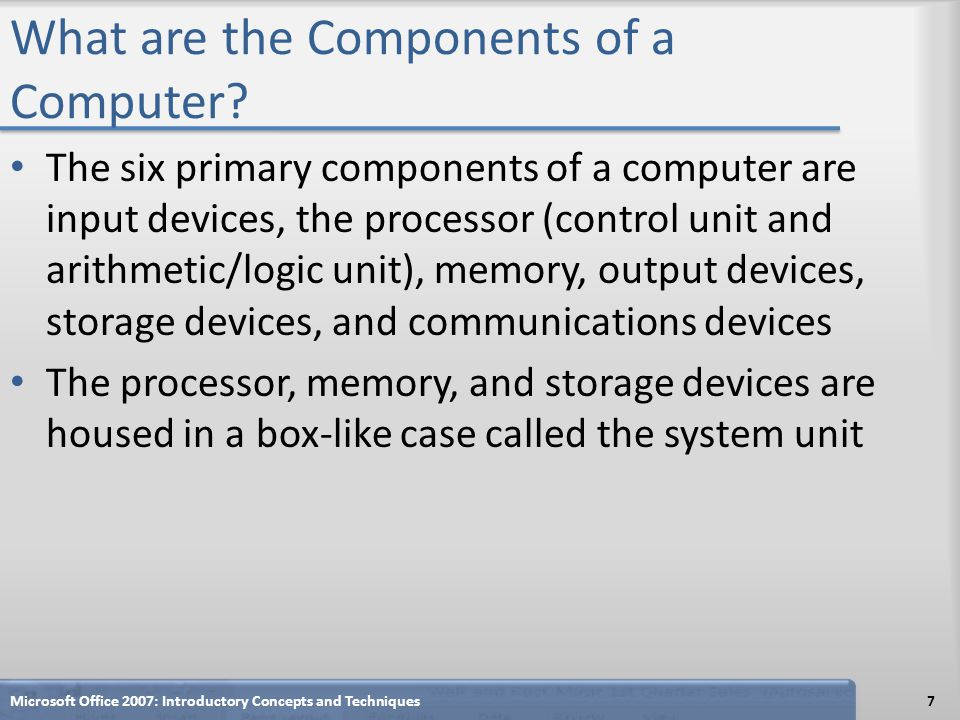 What are the Components of a Computer? The six primary components of a computer are input devices, the processor (control unit and arithmetic/logic un