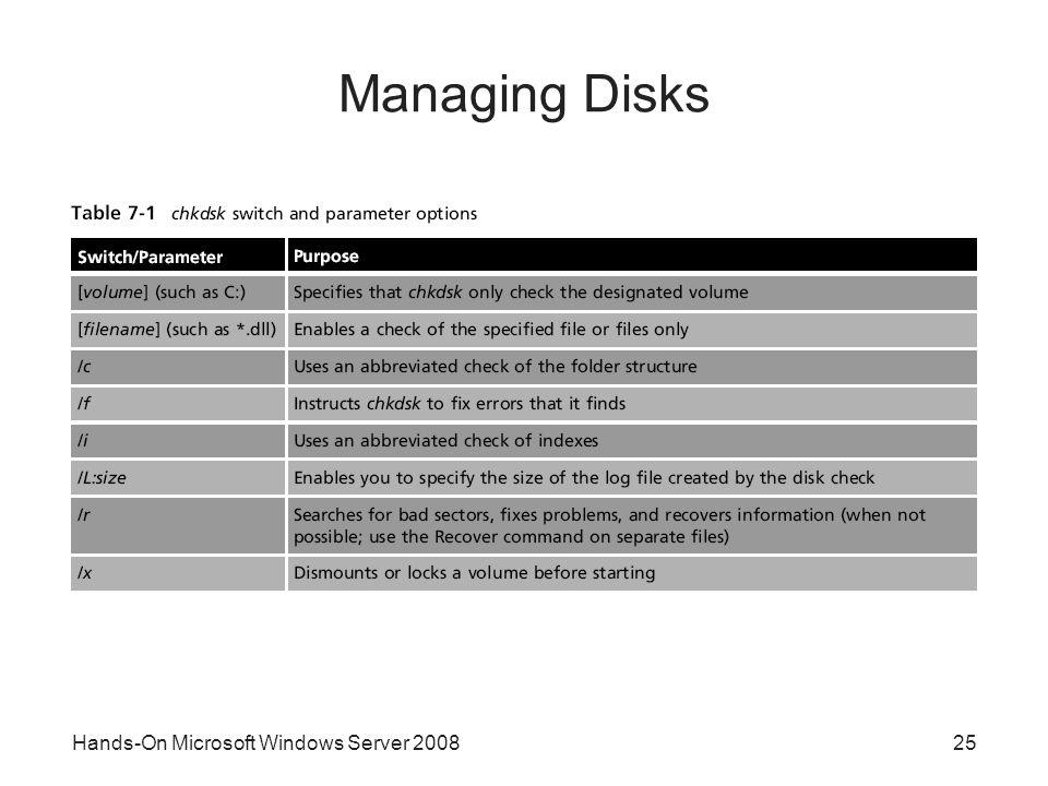 Hands-On Microsoft Windows Server 200825 Managing Disks