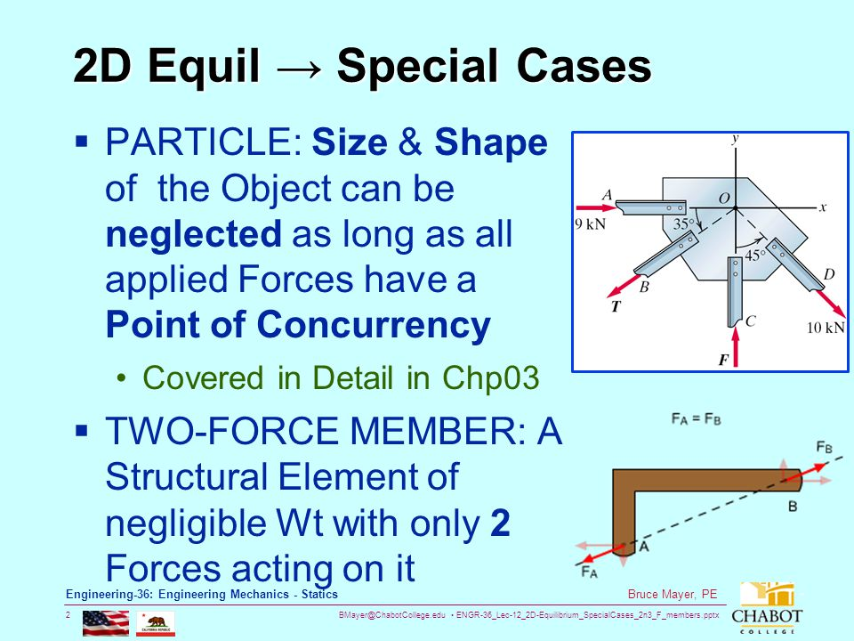 BMayer@ChabotCollege.edu ENGR-36_Lec-12_2D-Equilibrium_SpecialCases_2n3_F_members.pptx 3 Bruce Mayer, PE Engineering-36: Engineering Mechanics - Statics 2D Equil Special Cases THREE-FORCE MEMBER: A structural Element of negligible Wt with only 3 Forces acting on it The forces must be either concurrent or parallel.