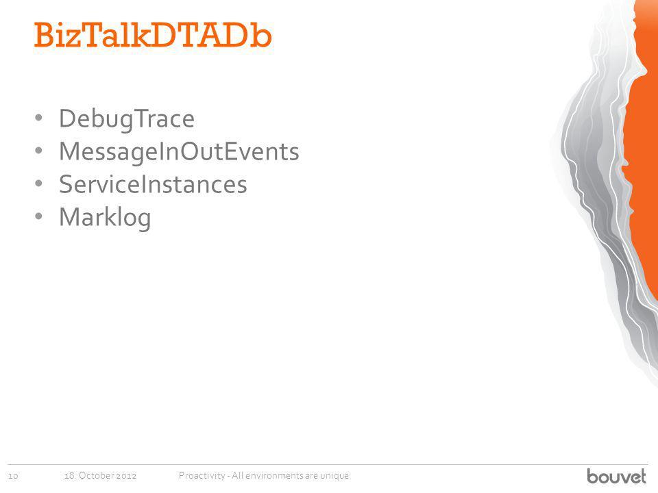 BizTalkDTADb 18. October 201210Proactivity - All environments are unique DebugTrace MessageInOutEvents ServiceInstances Marklog
