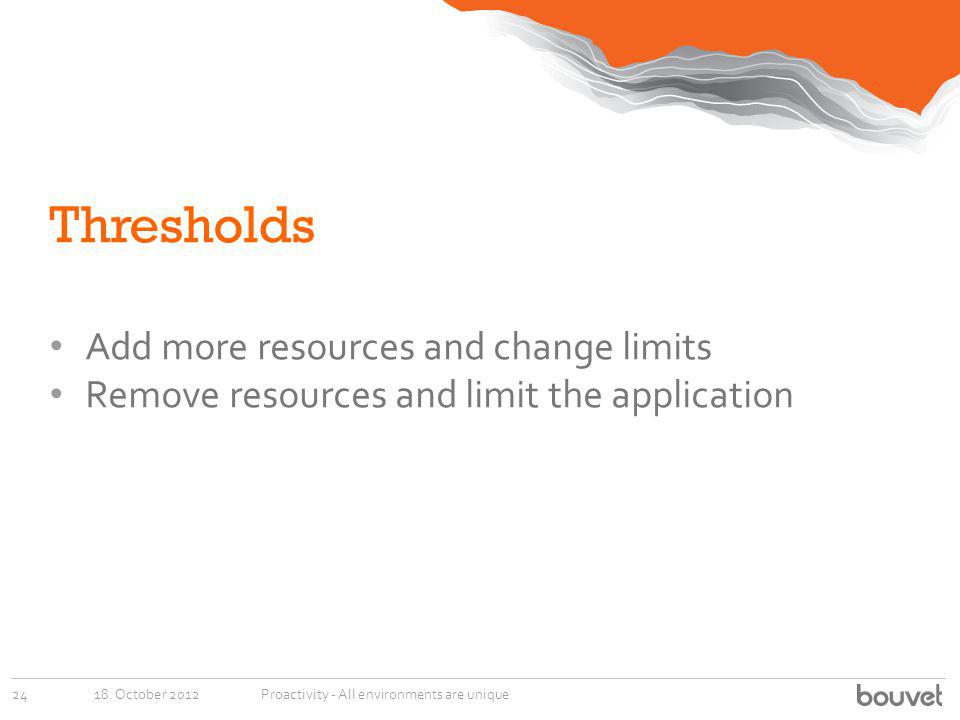 Thresholds Add more resources and change limits Remove resources and limit the application 18. October 201224Proactivity - All environments are unique