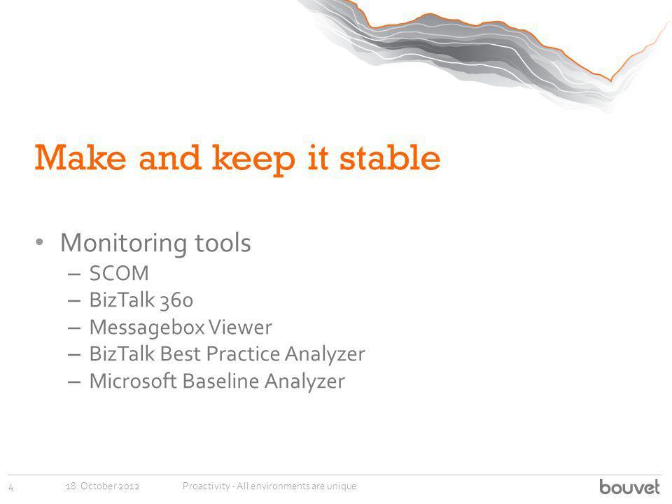 Make and keep it stable Monitoring tools – SCOM – BizTalk 360 – Messagebox Viewer – BizTalk Best Practice Analyzer – Microsoft Baseline Analyzer 18. O