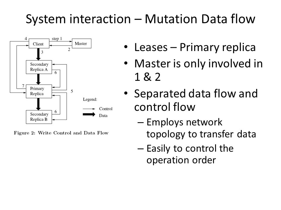 System interaction – Mutation Data flow Leases – Primary replica Master is only involved in 1 & 2 Separated data flow and control flow – Employs network topology to transfer data – Easily to control the operation order