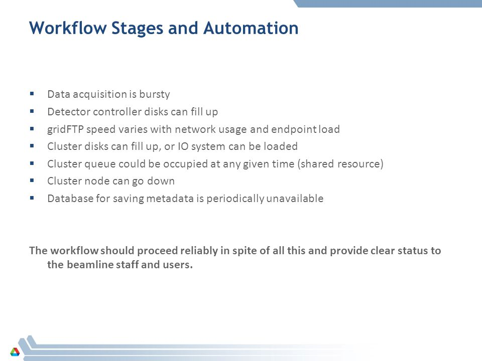 Workflow Stages and Automation Data acquisition is bursty Detector controller disks can fill up gridFTP speed varies with network usage and endpoint load Cluster disks can fill up, or IO system can be loaded Cluster queue could be occupied at any given time (shared resource) Cluster node can go down Database for saving metadata is periodically unavailable The workflow should proceed reliably in spite of all this and provide clear status to the beamline staff and users.