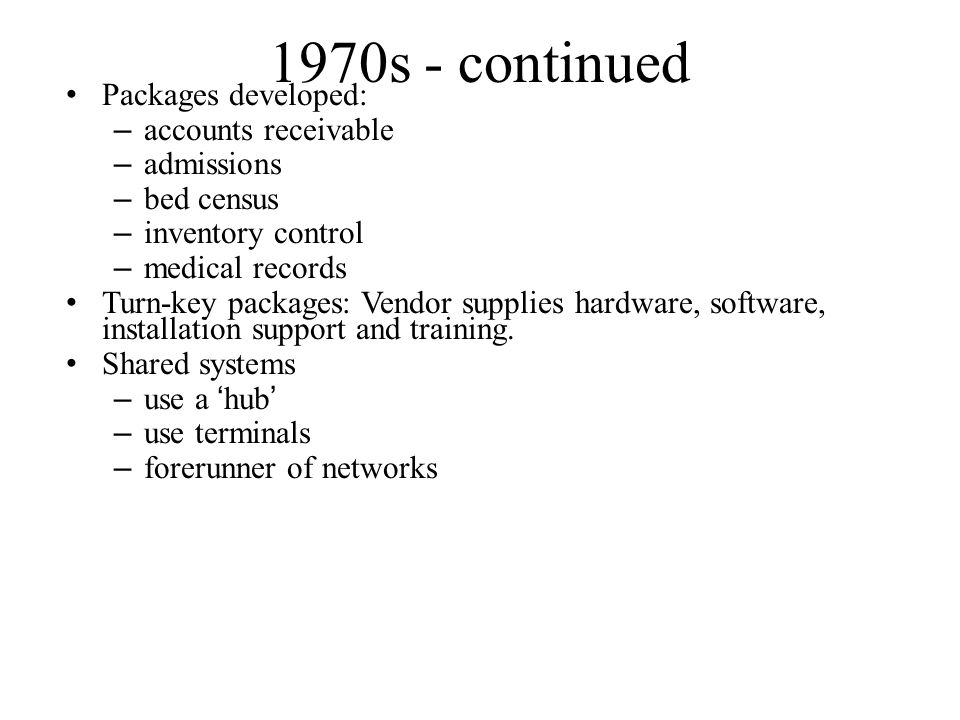 1970s - Setting the Stage for Bigger Things Hardware innovations opened up new opportunities: – On-line computer systems – Still used batch for big jobs (payroll) Minicomputers Packaged systems