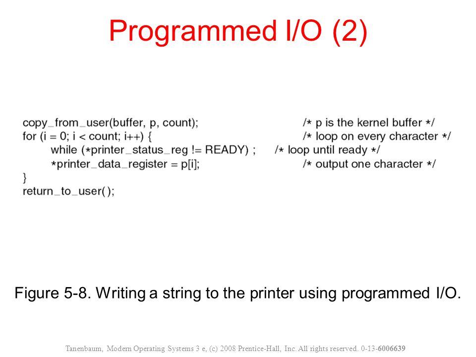 Figure 5-8. Writing a string to the printer using programmed I/O. Programmed I/O (2) Tanenbaum, Modern Operating Systems 3 e, (c) 2008 Prentice-Hall,