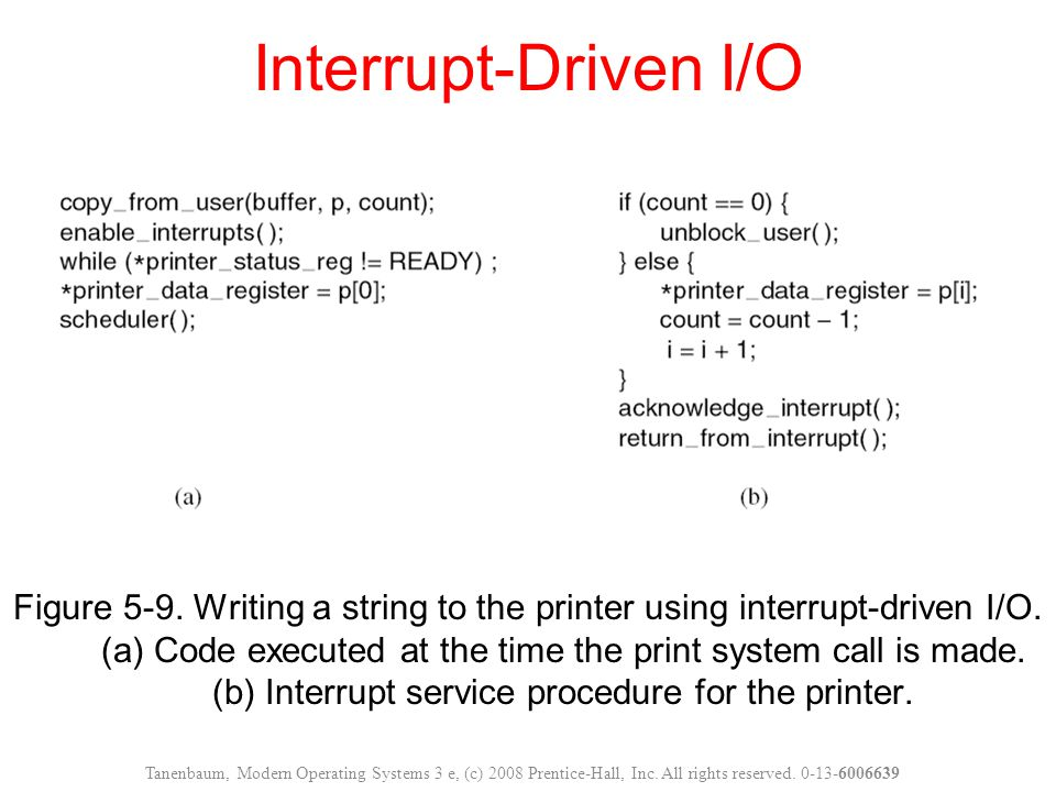 Figure 5-9. Writing a string to the printer using interrupt-driven I/O. (a) Code executed at the time the print system call is made. (b) Interrupt ser