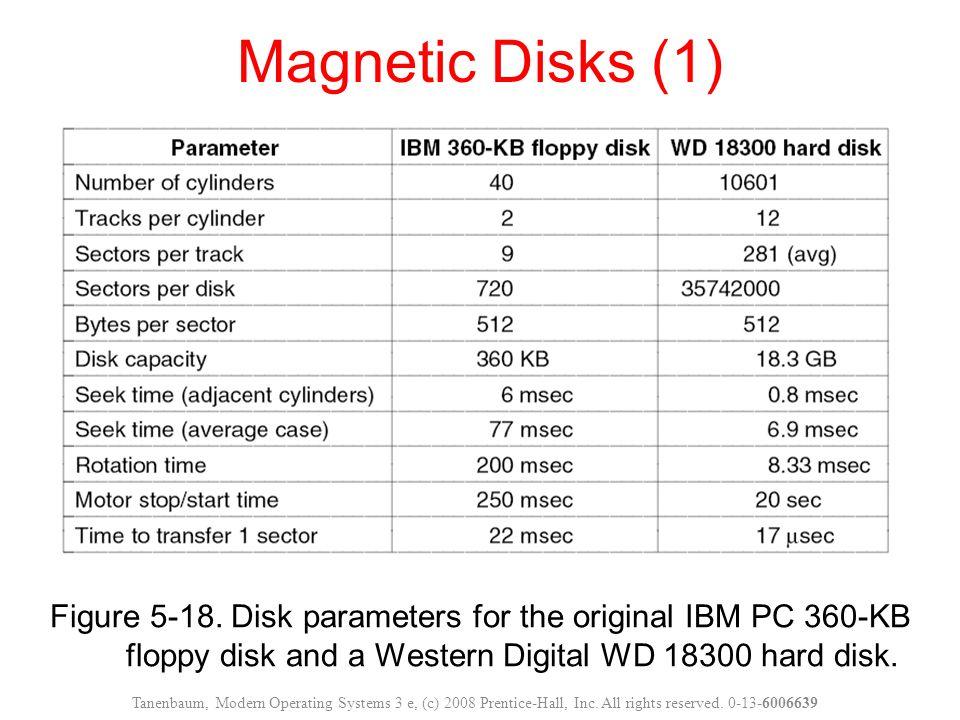 Figure 5-18. Disk parameters for the original IBM PC 360-KB floppy disk and a Western Digital WD 18300 hard disk. Magnetic Disks (1) Tanenbaum, Modern