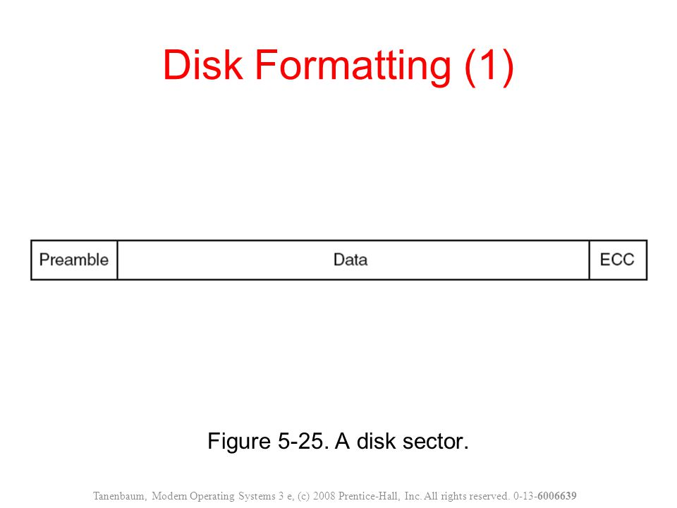 Figure 5-25. A disk sector. Disk Formatting (1) Tanenbaum, Modern Operating Systems 3 e, (c) 2008 Prentice-Hall, Inc. All rights reserved. 0-13-600663