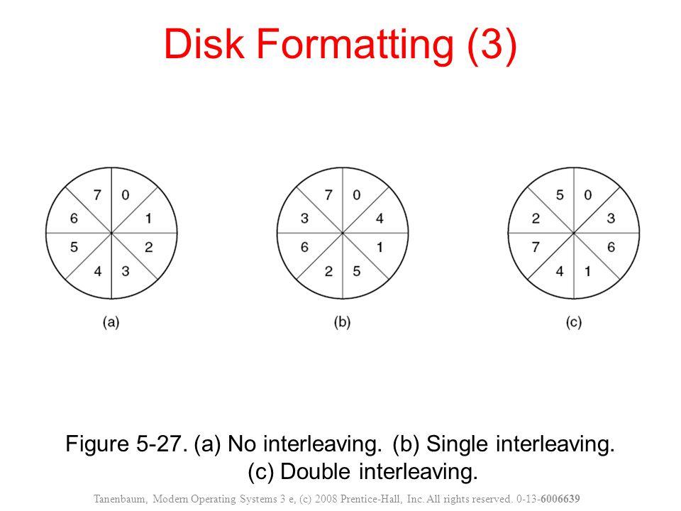 Figure 5-27. (a) No interleaving. (b) Single interleaving. (c) Double interleaving. Disk Formatting (3) Tanenbaum, Modern Operating Systems 3 e, (c) 2