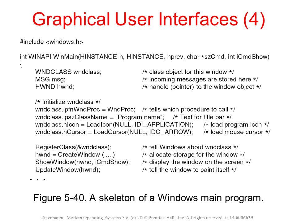 Figure 5-40. A skeleton of a Windows main program. Graphical User Interfaces (4) Tanenbaum, Modern Operating Systems 3 e, (c) 2008 Prentice-Hall, Inc.