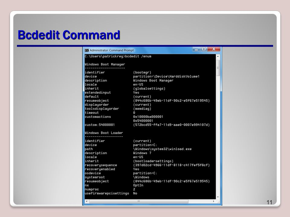 Bcdedit Command 11