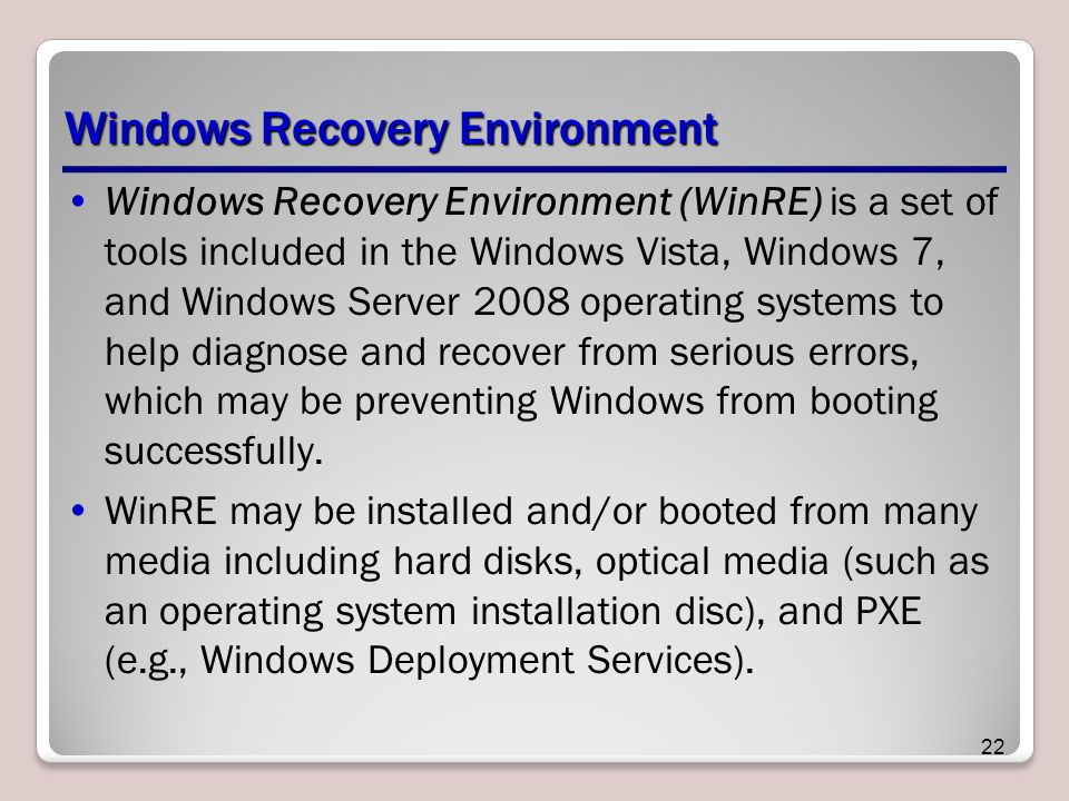 Windows Recovery Environment Windows Recovery Environment (WinRE) is a set of tools included in the Windows Vista, Windows 7, and Windows Server 2008 operating systems to help diagnose and recover from serious errors, which may be preventing Windows from booting successfully.
