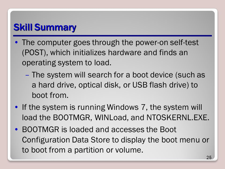 Skill Summary The computer goes through the power-on self-test (POST), which initializes hardware and finds an operating system to load.