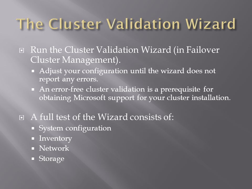 Run the Cluster Validation Wizard (in Failover Cluster Management).