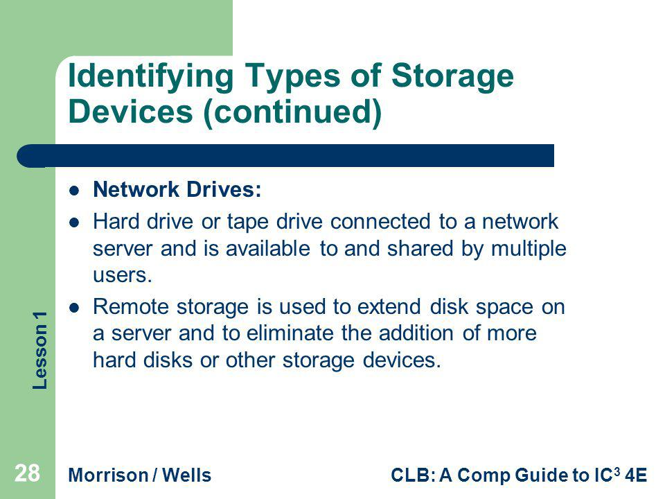 Lesson 1 Morrison / WellsCLB: A Comp Guide to IC 3 4E Identifying Types of Storage Devices (continued) Network Drives: Hard drive or tape drive connec