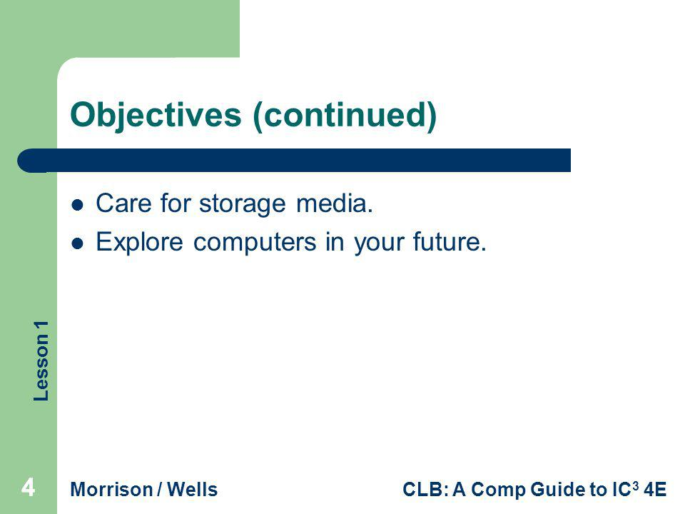 Lesson 1 Morrison / WellsCLB: A Comp Guide to IC 3 4E 444 Objectives (continued) Care for storage media. Explore computers in your future.
