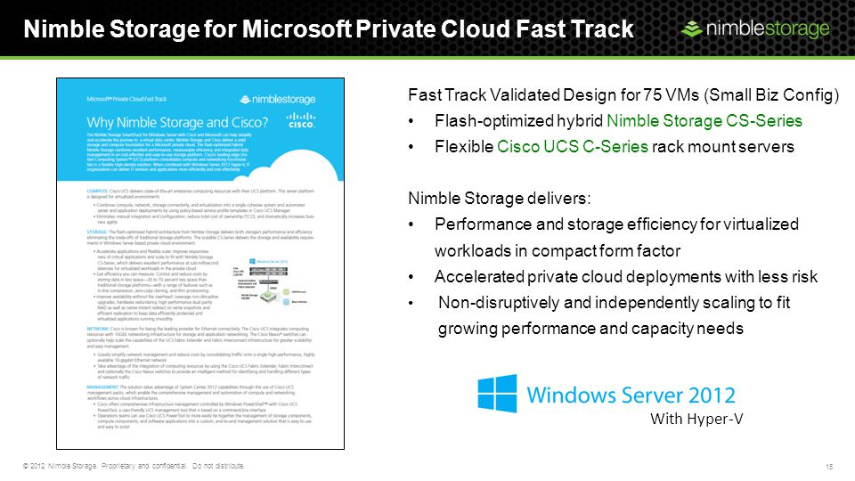 Nimble Storage for Microsoft Private Cloud Fast Track 15 © 2012 Nimble Storage. Proprietary and confidential. Do not distribute. Fast Track Validated