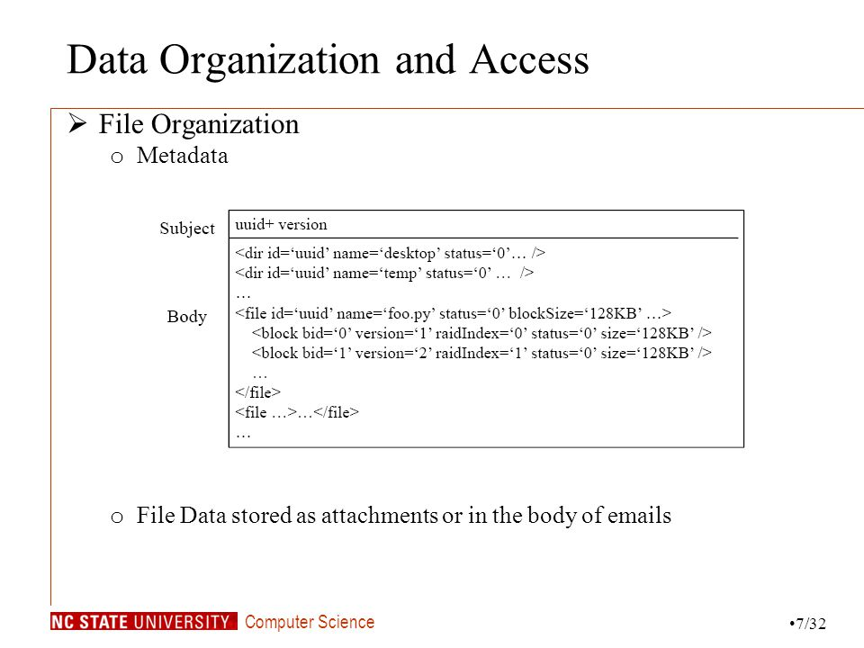 Computer Science Data Organization and Access File Organization o Metadata o File Data stored as attachments or in the body of emails 7/32