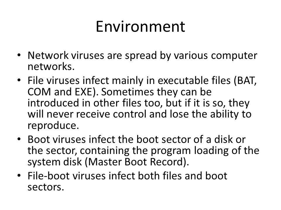 Environment Network viruses are spread by various computer networks. File viruses infect mainly in executable files (BAT, COM and EXE). Sometimes they