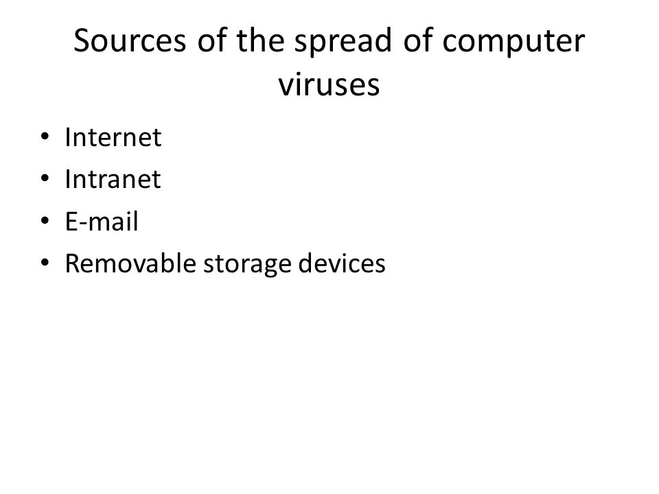 Sources of the spread of computer viruses Internet Intranet E-mail Removable storage devices