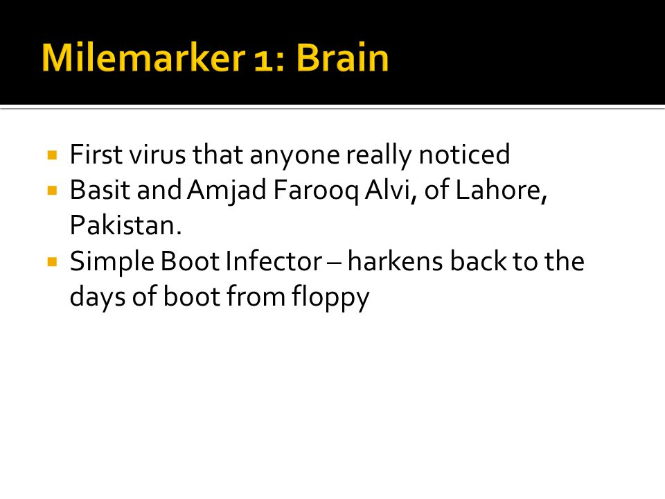 First virus that anyone really noticed Basit and Amjad Farooq Alvi, of Lahore, Pakistan. Simple Boot Infector – harkens back to the days of boot from