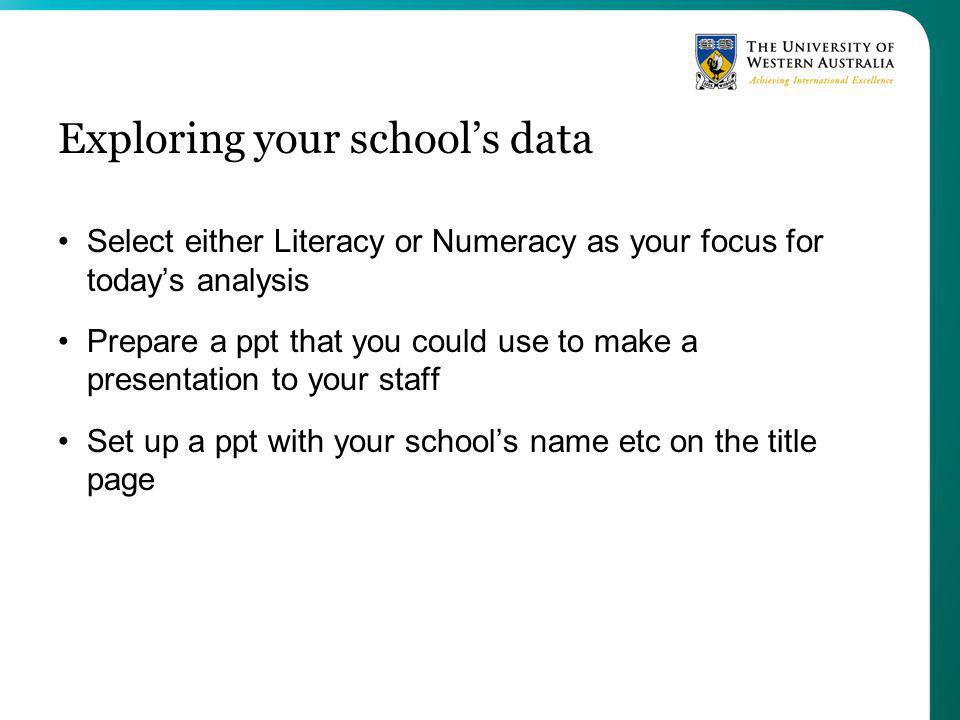 Exploring your schools data Select either Literacy or Numeracy as your focus for todays analysis Prepare a ppt that you could use to make a presentation to your staff Set up a ppt with your schools name etc on the title page