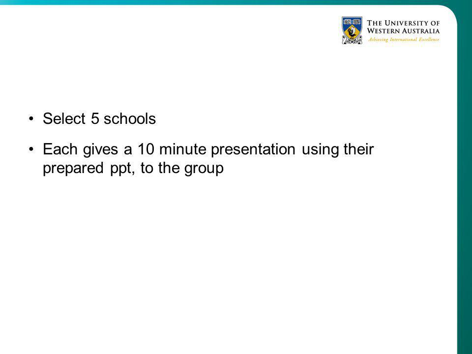 Select 5 schools Each gives a 10 minute presentation using their prepared ppt, to the group