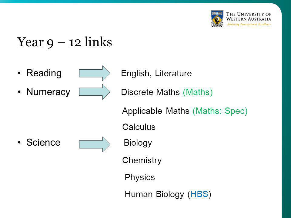 Year 9 – 12 links Reading English, Literature Numeracy Discrete Maths (Maths) Applicable Maths (Maths: Spec) Calculus Science Biology Chemistry Physics Human Biology (HBS)