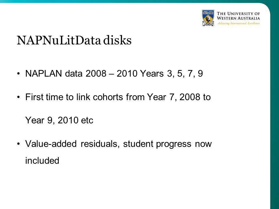 NAPNuLitData disks NAPLAN data 2008 – 2010 Years 3, 5, 7, 9 First time to link cohorts from Year 7, 2008 to Year 9, 2010 etc Value-added residuals, student progress now included